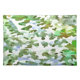Foliage Abstract Pop Art In White Green and Powder Cloth Placemat