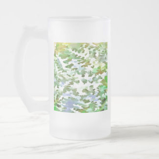 Foliage Abstract Pop Art In White Green and Powder Frosted Glass Beer Mug