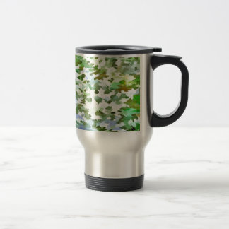 Foliage Abstract Pop Art In White Green and Powder Travel Mug