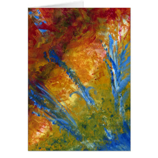 Foliage Abstract Red Blue Green Greeting Card