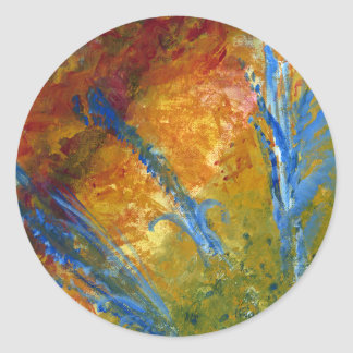 Foliage Abstract Red Blue Green Classic Round Sticker