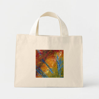 Foliage Abstract Red Blue Green Mini Tote Bag