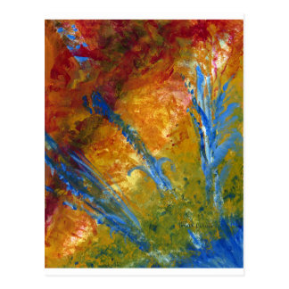 Foliage Abstract Red Blue Green Postcard