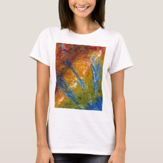 Foliage Abstract Red Blue Green T-Shirt