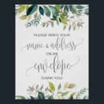 "Foliage Address An Envelope Sign<br><div class=""desc"">This foliage &quot;Address an Envelope&quot; sign is perfect for a rustic baby shower. The design features a boho frame of green leaves and leafy greenery botanicals. Have your guests address a thank you card envelope to themselves to save the busy guest of honor the trouble of writing out all the...</div>"