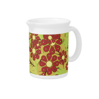 Foliage and flowers pitcher