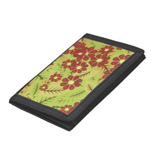 Foliage and flowers tri-fold wallets