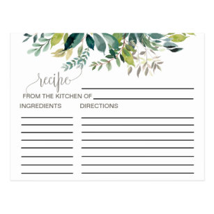 foliage bridal shower recipe cards