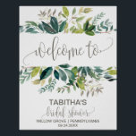 "Foliage Bridal Shower Welcome Poster<br><div class=""desc"">This foliage bridal shower welcome poster is perfect for a rustic wedding shower. The design features a boho frame of green leaves and leafy greenery botanicals. Customize the poster with the name of the bride-to-be,  and the date and location of the shower.</div>"