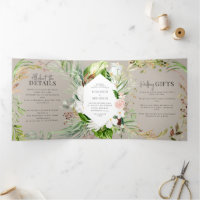 Foliage   floral wedding invitation and details