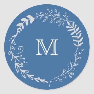 Foliage Garland Blue Silver Vintage Favor Stickers