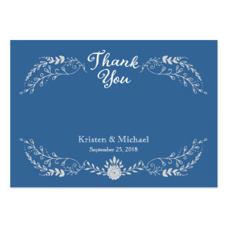 Foliage Garland (Blue Silver) Vintage Thank You Large Business Cards (Pack Of 100)