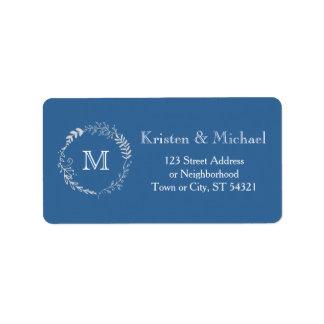 Foliage Garland (Blue Silver) Vintage Wedding Address Label