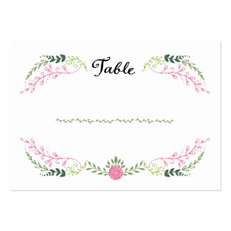 Foliage Garland (Pink & Green) Escort Cards Large Business Cards (Pack Of 100)