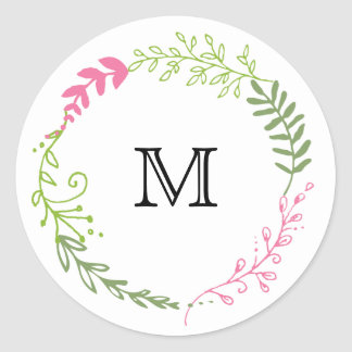 Foliage Garland (Pink & Green) Favor Stickers