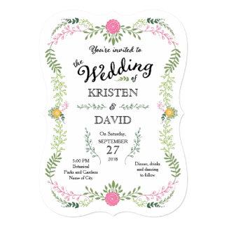 Foliage Garland (Pink & Green) Vintage Wedding 5x7 Paper Invitation Card
