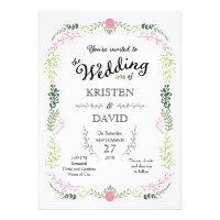 Foliage Garland (Pink & Green) Vintage Wedding Invitations