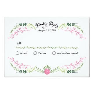 Foliage Garland (Pink Green) Vintage Wedding RSVP 3.5x5 Paper Invitation Card