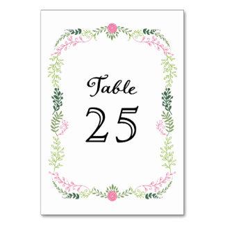 Foliage Garland (Pink & Green) Vintage Wedding Table Card