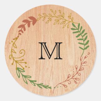 Foliage Garland (Wood) Fall Wedding Favor Sticker