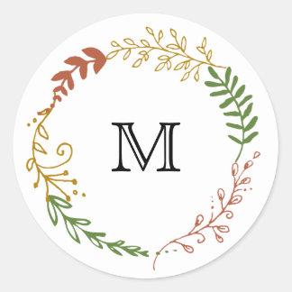 Foliage Garland Wreath Fall Wedding Favor Sticker