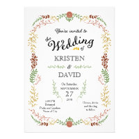 Foliage Garland Wreath Vintage Fall Wedding Personalized Announcements
