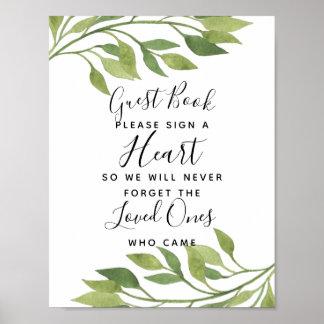 foliage green leaf heart guest book wedding