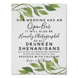 foliage greenery Open Bar wedding sign