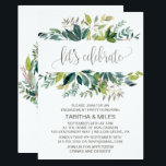 """Foliage Let&#39;s Celebrate Engagement Party Card<br><div class=""""desc"""">This foliage &quot;let&#39;s celebrate&quot; engagement party invitation card is perfect for a rustic event. The design features a boho frame of green leaves and leafy greenery botanicals. The backing features a matching country wreath with the words &quot;let&#39;s celebrate&quot; in a gorgeous modern calligraphy font. This invitation is perfect for an...</div>"""