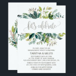 """Foliage Let&#39;s Celebrate Engagement Party Invitation<br><div class=""""desc"""">This foliage &quot;let&#39;s celebrate&quot; engagement party invitation card is perfect for a rustic event. The design features a boho frame of green leaves and leafy greenery botanicals. The backing features a matching country wreath with the words &quot;let&#39;s celebrate&quot; in a gorgeous modern calligraphy font. This invitation is perfect for an...</div>"""