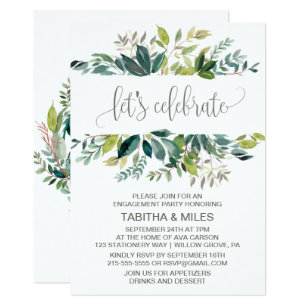 Foliage Let S Celebrate Engagement Party Invitation