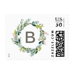 Foliage Monogram Wreath Wedding Postage
