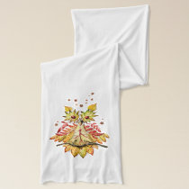 Foliage owl autumn leaves scarf