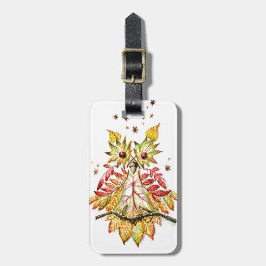 Foliage owl bag tag