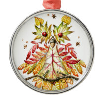Foliage owl metal ornament