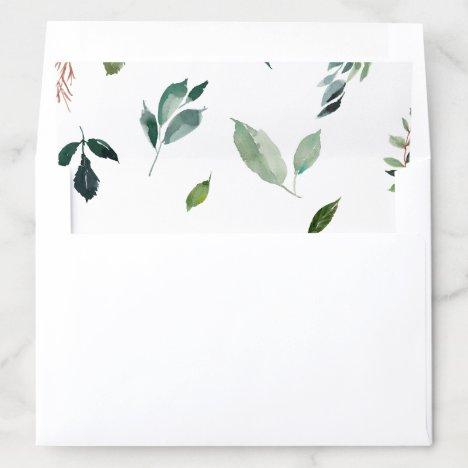 Foliage Pattern Wedding Envelope Liner
