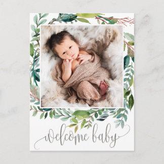 Foliage Photo Birth Announcement