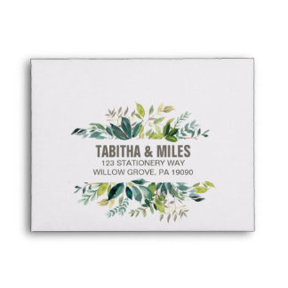 Foliage Printed Address RSVP Envelope