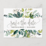 """Foliage Save the Date Announcement Postcard<br><div class=""""desc"""">This foliage save the date postcard is perfect for a rustic wedding. The design features a boho frame of green leaves and leafy greenery botanicals.</div>"""