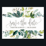 "Foliage Save the Date Postcard<br><div class=""desc"">This foliage save the date postcard is perfect for a rustic wedding. The design features a boho frame of green leaves and leafy greenery botanicals.</div>"