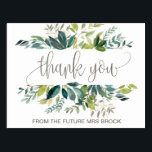 """Foliage Thank You Postcard<br><div class=""""desc"""">This foliage thank you postcard is perfect for a rustic wedding. The design features a boho frame of green leaves and leafy greenery botanicals. Personalize the front of the card with a short message. Personalize the back with a longer thank you message. Alternatively, leave the thank you message template section...</div>"""