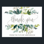 "Foliage Thank You Postcard<br><div class=""desc"">This foliage thank you postcard is perfect for a rustic wedding. The design features a boho frame of green leaves and leafy greenery botanicals. Personalize the front of the card with a short message. Personalize the back with a longer thank you message. Alternatively, leave the thank you message template section...</div>"