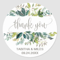Foliage Thank You Wedding Favor Stickers