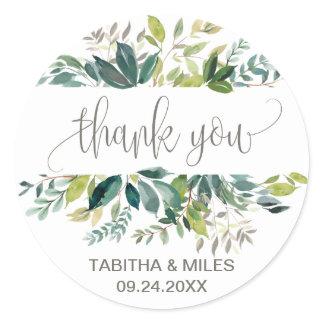 Foliage Thank You Wedding Favor Stickers