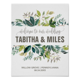 Foliage Wedding Welcome Poster