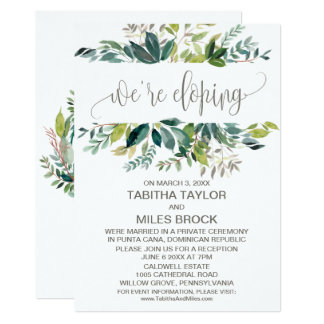 Foliage We're Eloping Elopement Reception Card