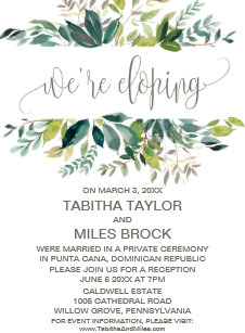 elopement invitations zazzle