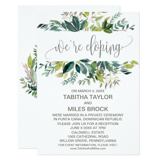 Foliage We Re Eloping Elopement Reception Invitation Zazzle Com