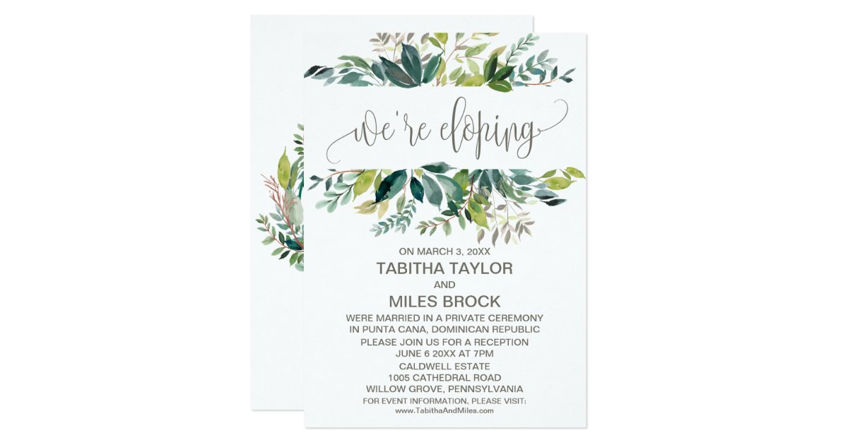 Elopement Wedding Invitations: Foliage We're Eloping Elopement Reception Invitation
