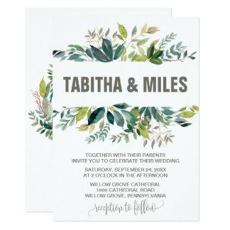 Foliage with Monogram Wreath Backing Wedding Card